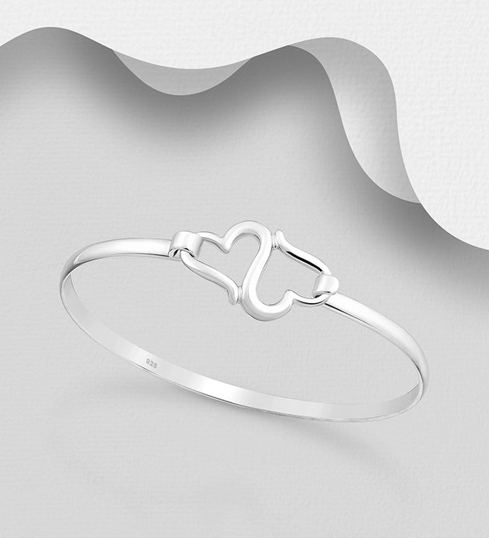 925 Sterling Silver Hand Crafted Double Heart Bangle That Opens - The Silver Vault UK