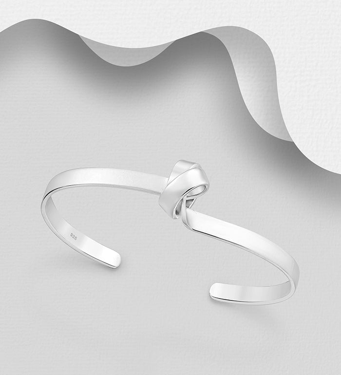 925 Sterling Silver Hand Crafted Solid Twisted Raised Knot Cuff Bangle - The Silver Vault UK