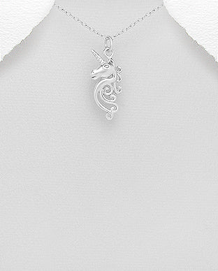 925 Sterling Silver Unicorn Pendant & Chain - The Silver Vault UK