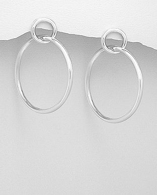 925 Sterling Silver Large Hoop Earrings with Stud Backs - The Silver Vault UK