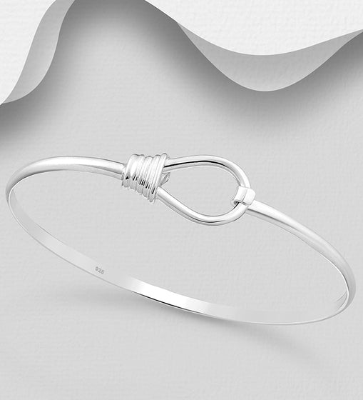 925 Sterling Silver Hand Crafted Solid Bangle That Opens - The Silver Vault UK