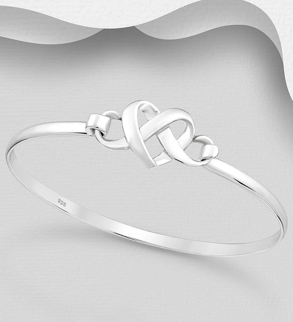 925 Sterling Silver Bangle Hand Crafted Entwined Heart Solid Bangle That Opens - The Silver Vault UK