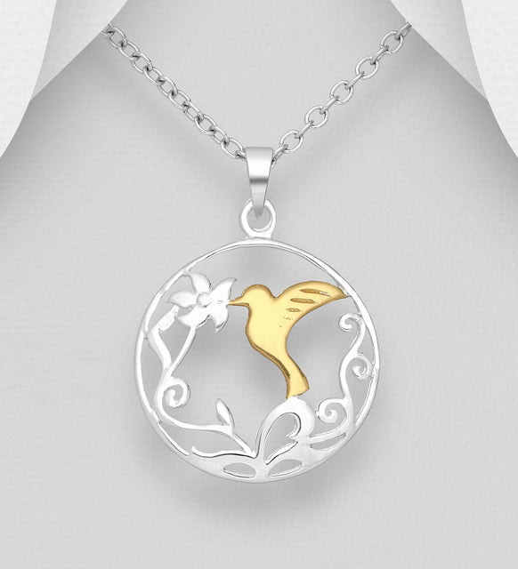 925 Sterling Silver Bird and Leaf Pendant and Chain, Bird Plated with 1 Micron of 18K Yellow Gold - Valentines Gift Idea - The Silver Vault UK