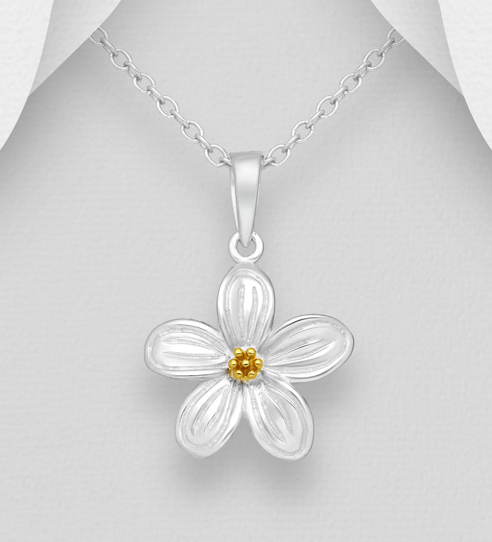 925 Sterling Silver Flower Pendant and Chain, Pollen Plated with 1 Micron of 18K Yellow Gold - The Silver Vault UK
