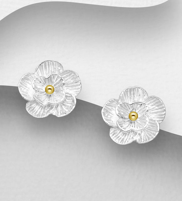 925 Sterling Silver Flower Stud Daisy Shape Earrings, Plated with 1 Micron 18K Yellow Gold - The Silver Vault UK