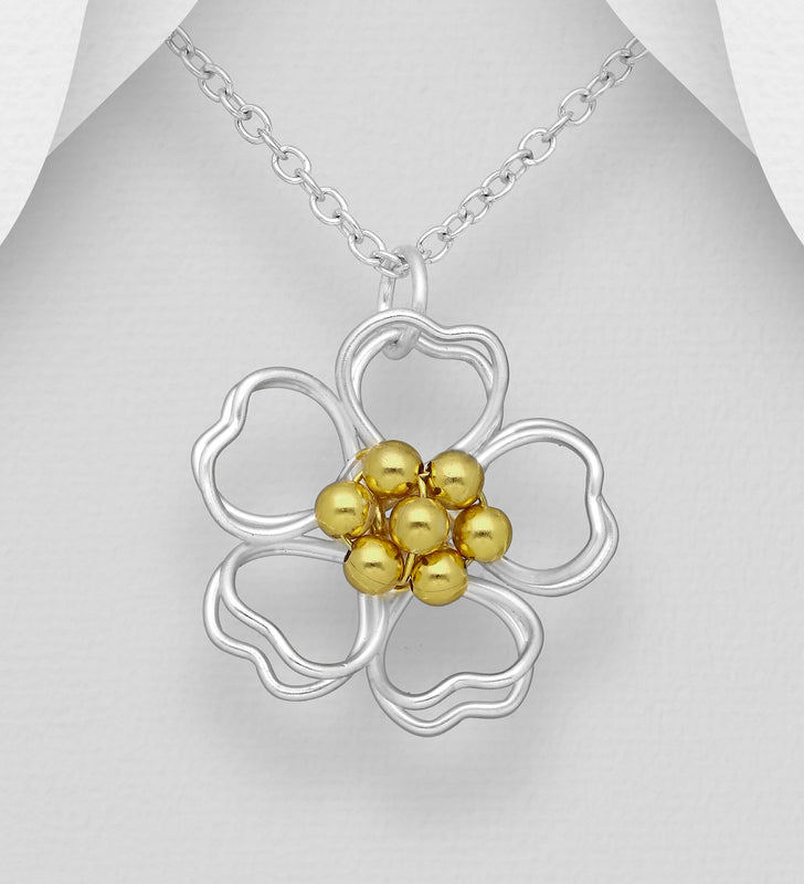 925 Sterling Silver Hand Crafted Pendant and Open Flower Pendant and Chain, Pollen Plated with 1 Micron  of 18K Yellow Gold - The Silver Vault UK