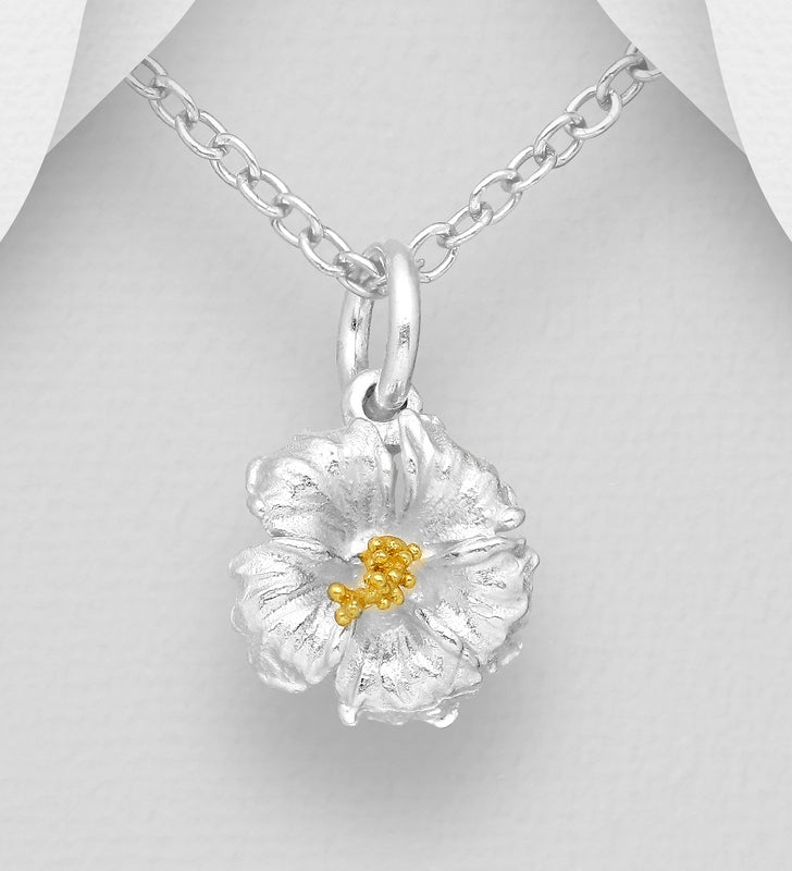 925 Sterling Silver Hibiscus Pendant & Chain, Pollen Plated with 1 Micron of 18K Yellow Gold - The Silver Vault UK