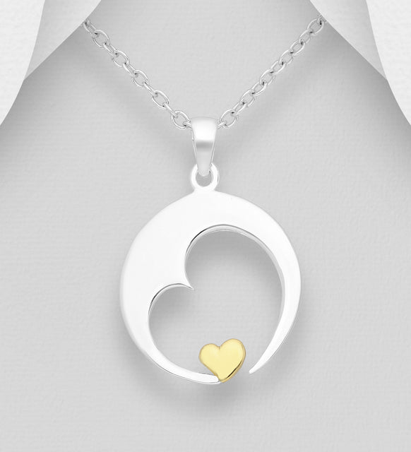 925 Sterling Silver Moon and Heart Pendant and Chain, Heart Plated with 1 Micron  of 18K Yellow Gold - Valentines Gift Idea - The Silver Vault UK
