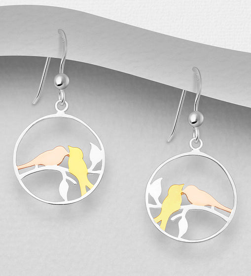 925 Sterling Silver Drop Love Bird Earrings, Plated with 1 Micron 18K Yellow & Pink Gold - The Silver Vault UK