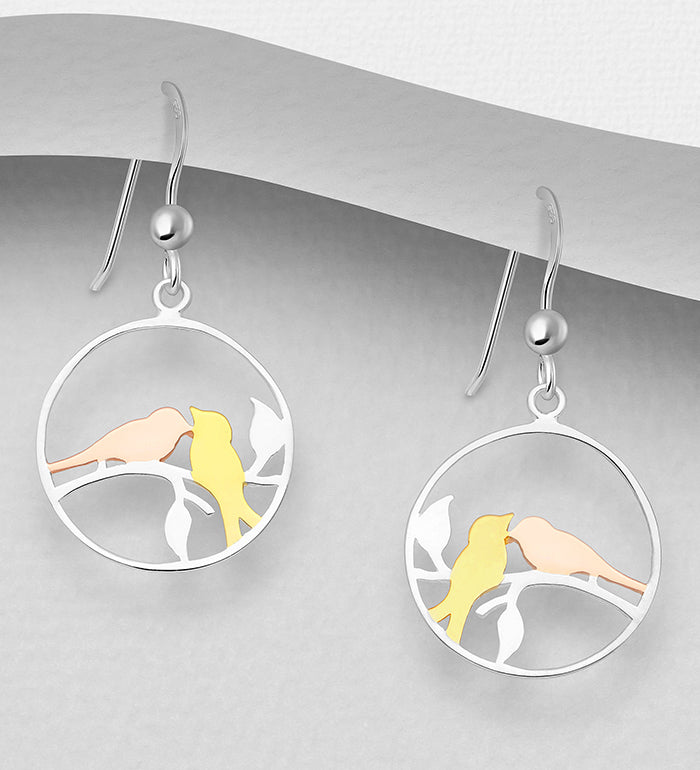 925 Sterling Silver Drop Love Bird Earrings, Plated with 1 Micron of 18K Yellow & Pink Gold - Valentines Gift Idea - The Silver Vault UK