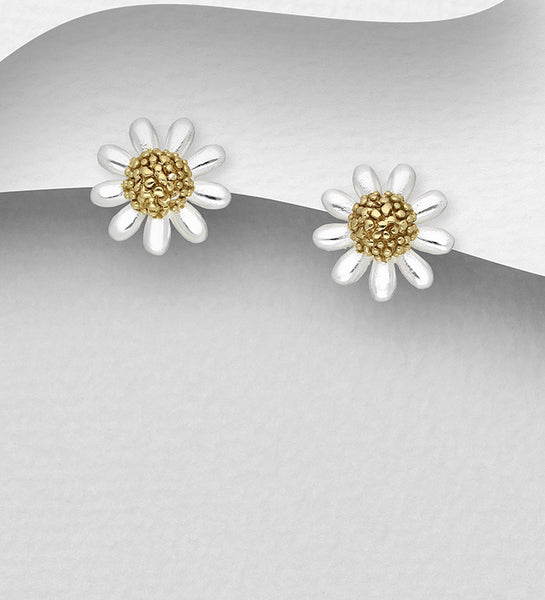 925 Sterling Silver Flower Stud Earrings, Pollen Plated with 1 Micron of18K Yellow Gold - The Silver Vault UK