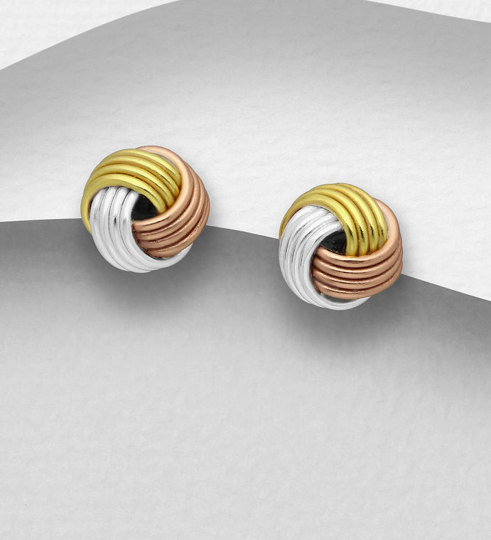 Copy of 925 Sterling Silver Knot Stud Earrings, Plated with 1 Micron 18K Yellow Gold - The Silver Vault UK
