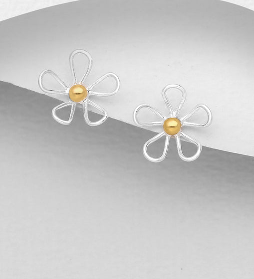 925 Sterling Silver Flower Stud Earrings, Pollen Plated with 1 Micron 18K Yellow Gold