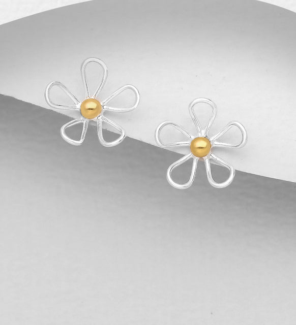 925 Sterling Silver Flower Stud Earrings, Pollen Plated with 1 Micron 18K Yellow Gold - The Silver Vault UK