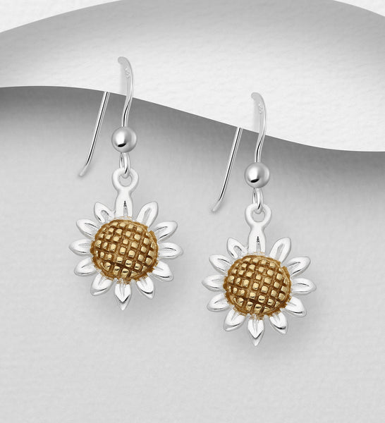 925 Sterling Silver Flower Drop Earrings, Pollen Plated with 1 Micron  of 18K Yellow Gold - The Silver Vault UK