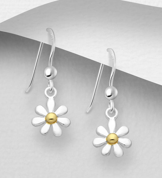 925 Sterling Silver Flower Drop Earrings, Center Plated with 1 Micron of 18K Yellow Gold - The Silver Vault UK