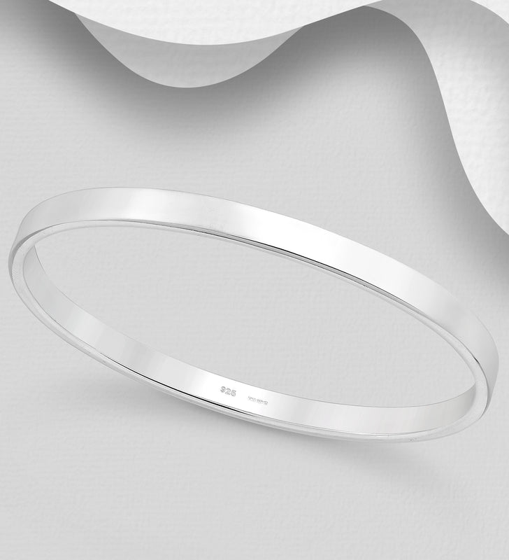 925 Sterling Silver Hand Crafted Solid Oval Bangle - The Silver Vault UK