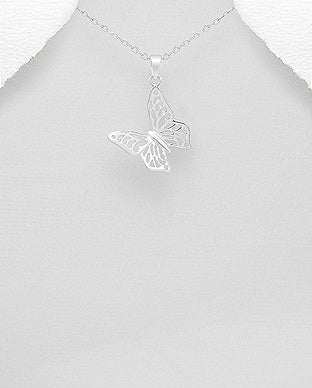 925 Sterling Silver Butterfly Pendant & Chain - The Silver Vault UK