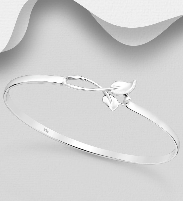 925 Sterling Silver Bangle Hand Crafted Bangle That Opens - The Silver Vault UK