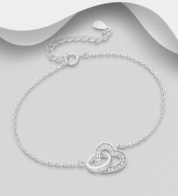 925 Sterling Silver Heart Links Bracelet Decorated with CZ Simulated Diamonds - Valentines Gift Idea - The Silver Vault UK