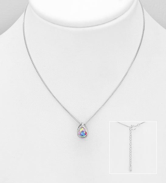 925 Sterling Silver Pendant Decorated with Verifiable Authentic Clear Swarovski Crystal - The Silver Vault UK