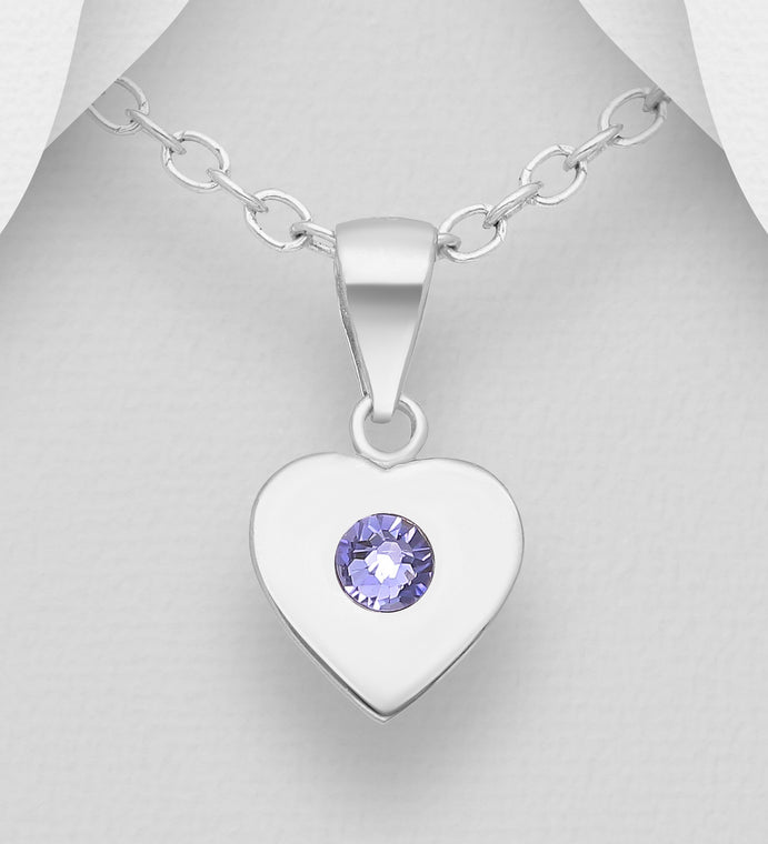 925 Sterling Silver Heart Pendant & Chain, Decorated with Various Verifiable Authentic Swarovski Crystal Stone - The Silver Vault UK