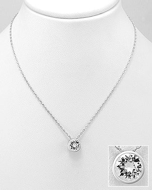 925 Sterling Silver Pendant & Chain Decorated with  Verifiable Authentic Swarovski Crystal Stone - The Silver Vault UK