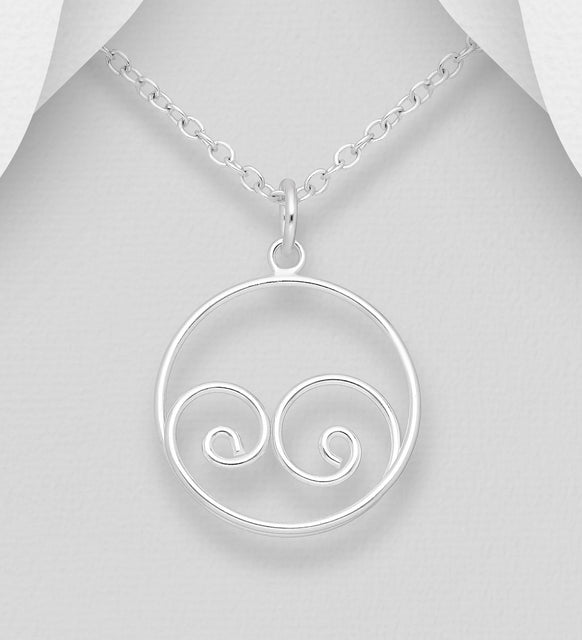 925 Sterling Silver Open Work Pendant & Chain