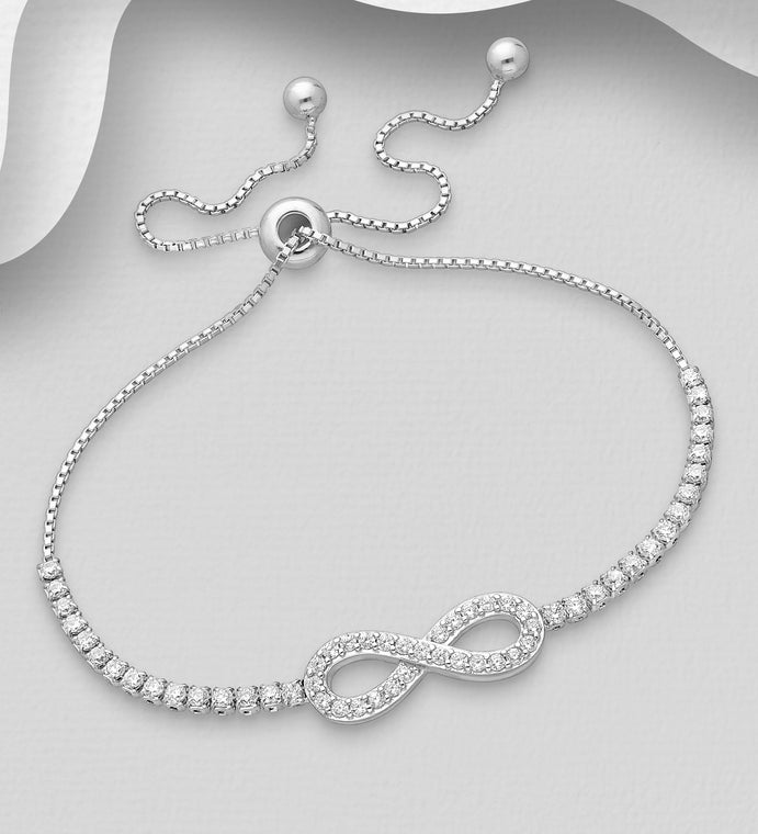925 Sterling Silver Adjustable Infinity Bracelet Decorated with CZ Simulated Diamonds - Valentines Gift Idea - The Silver Vault UK