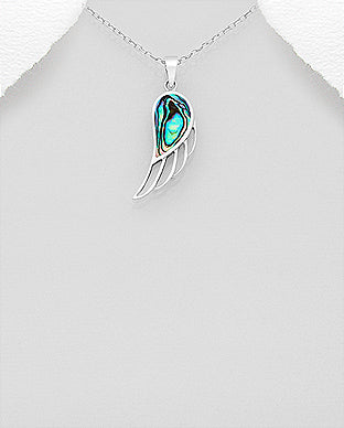 925 Sterling Silver Wing Pendant & Chain Decorated with Abalone Stone Shell - The Silver Vault UK
