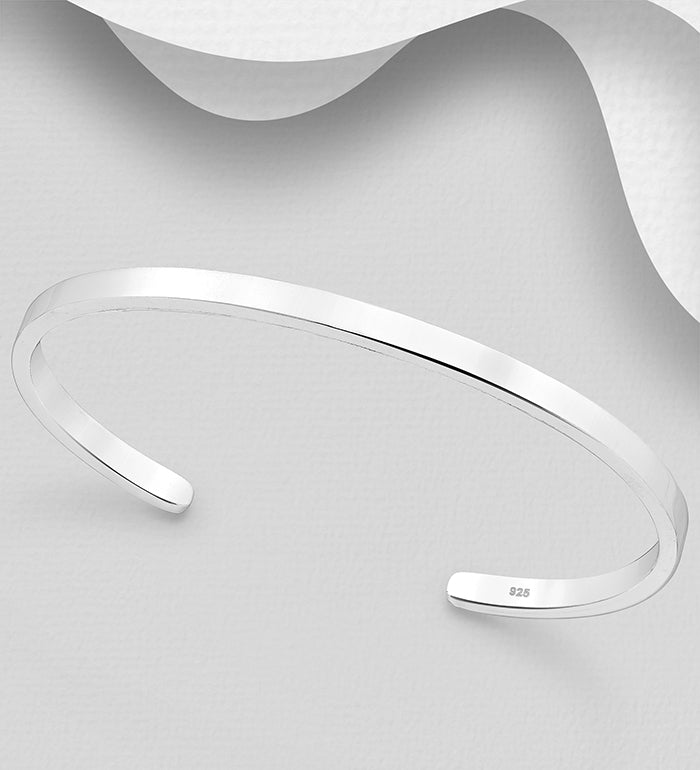 925 Sterling Silver Hand Crafted Plain Solid Cuff Bangle - The Silver Vault UK