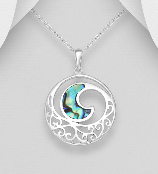925 Sterling Silver Pendant & Chain Featuring Wave Decorated With Abalone Stone Shell - The Silver Vault UK
