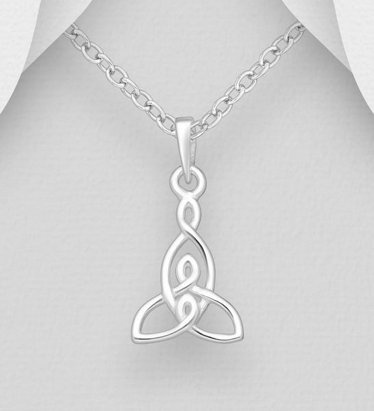 925 Sterling Silver Celtic Pendant & Chain - The Silver Vault UK