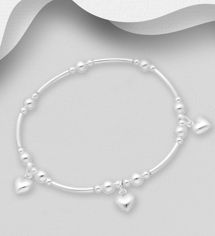 925 Sterling Silver Stretch Bracelet Featuring Hearts -Valentines Gift Idea - The Silver Vault UK