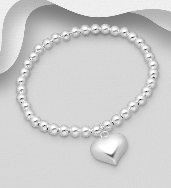 925 Sterling Silver Ball Stretch Bracelet Featuring Heart - Valentines Gift Idea - The Silver Vault UK