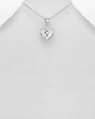 925 Sterling Silver Heart Pendant & Chain, Set with An Authentic Swarovski Crystal Stone - Valentines Gift Idea - The Silver Vault UK