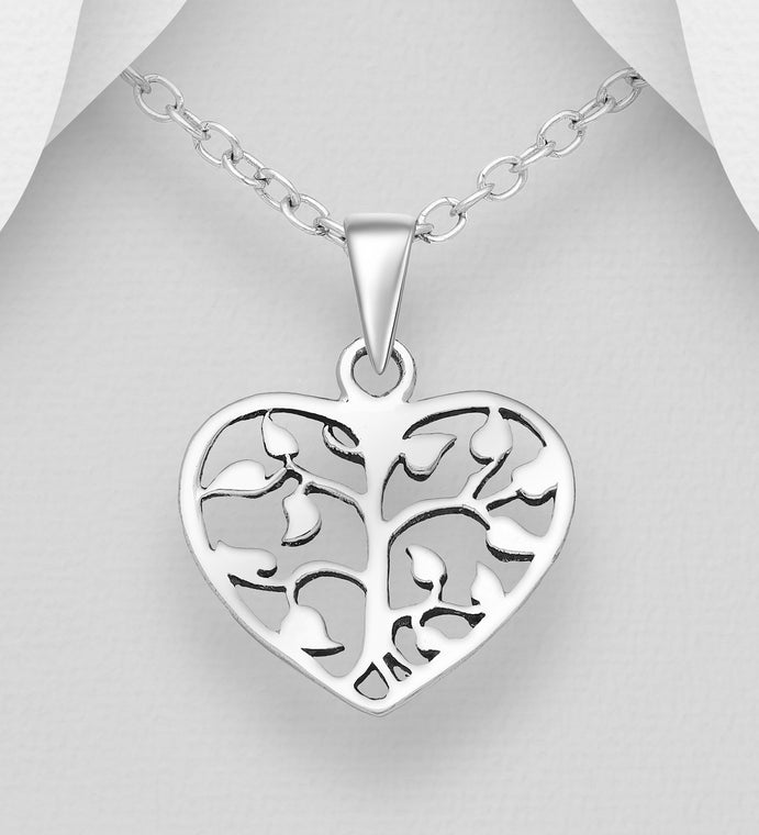 925 Sterling Silver Oxidized Heart Tree Of Life Pendant & Chain - Valentines Gift Idea - The Silver Vault UK