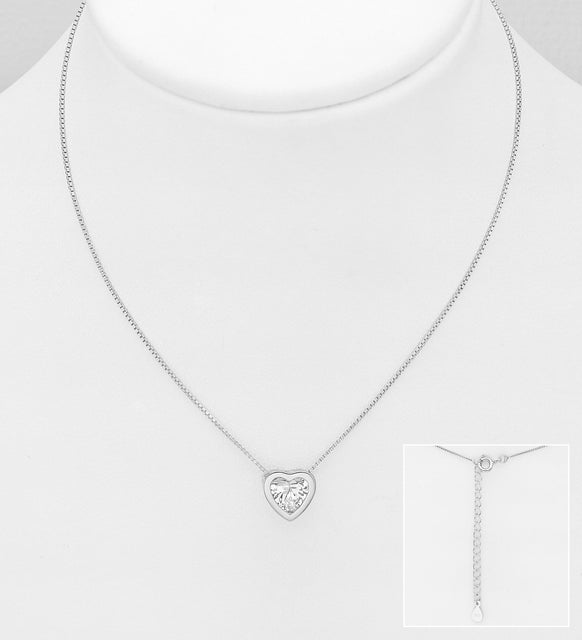 25 Sterling Silver Necklace Featuring Heart Decorated with CZ Simulated Diamond - Valentines Gift Idea - The Silver Vault UK