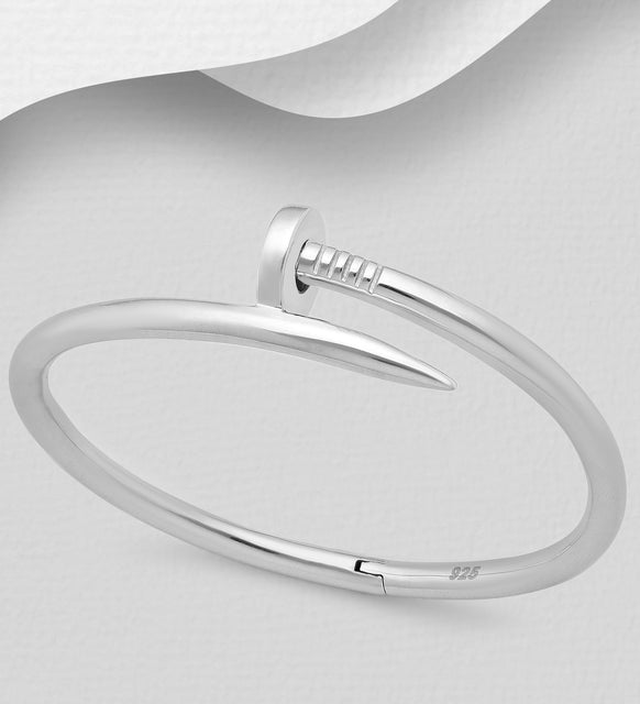 925 Sterling Silver Solid Hand Crafted Nail Cuff Bangle - The Silver Vault UK