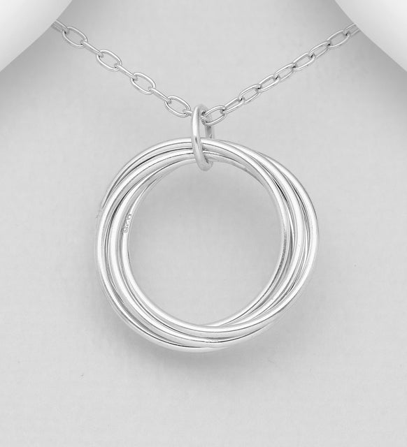 25 Sterling Silver Interlock Circles Pendant with Chain - The Silver Vault UK