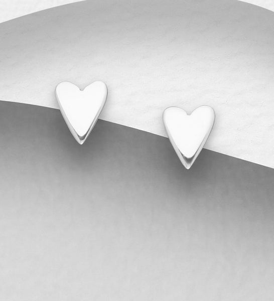 925 Sterling Silver Heart Stud Earrings - Valentines Gift Idea - The Silver Vault UK