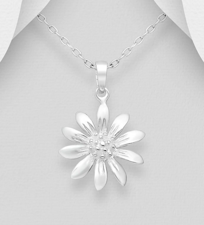 925 Sterling Silver Flower with Pollen Pendant Chain - The Silver Vault UK