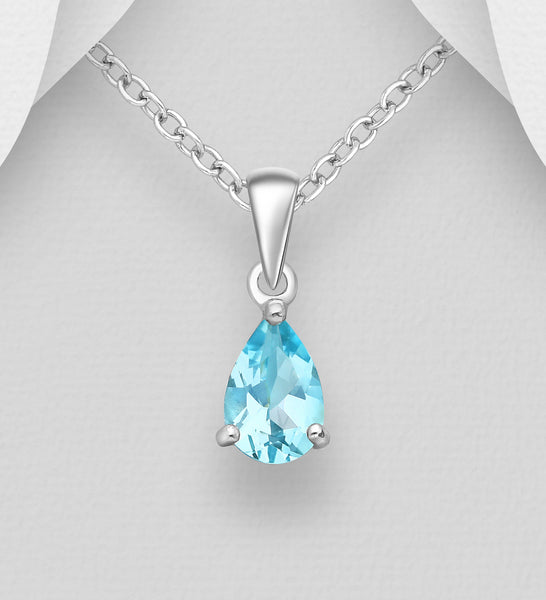 925 Sterling Silver Solitaire Pendant & Chain Decorated with Pear Shape Sky Blue Topaz Stone - The Silver Vault UK