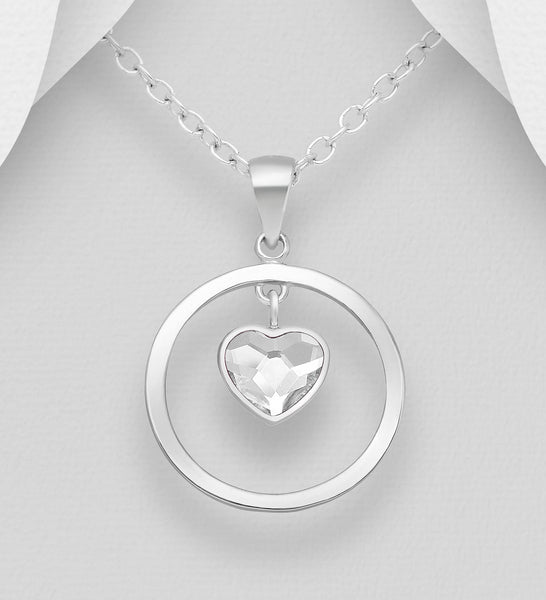 925 Sterling Silver Heart & Circle Pendant & Chain, Set with An Authentic Swarovski Crystal Stone - Valentines Gift Idea - The Silver Vault UK