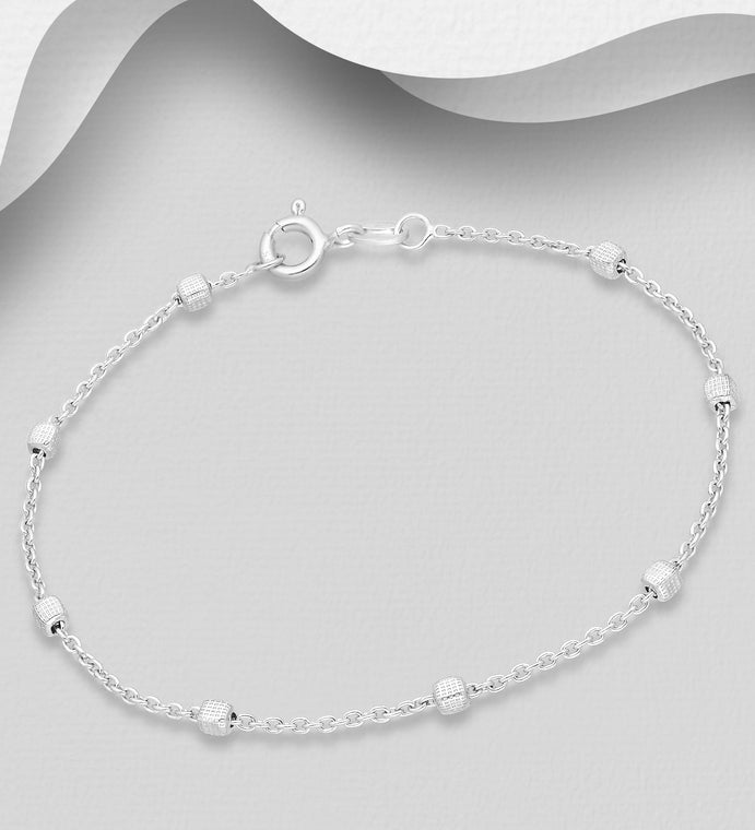 925 Sterling Silver Textured Box Bracelet, Made in Italy. - The Silver Vault UK