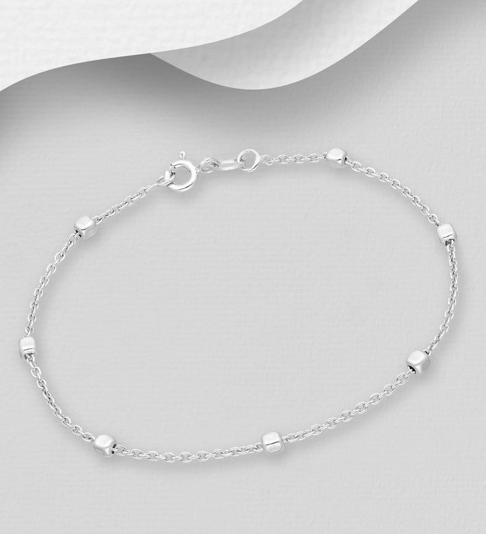 925 Sterling Silver Box Bracelet, Made in Italy - The Silver Vault UK