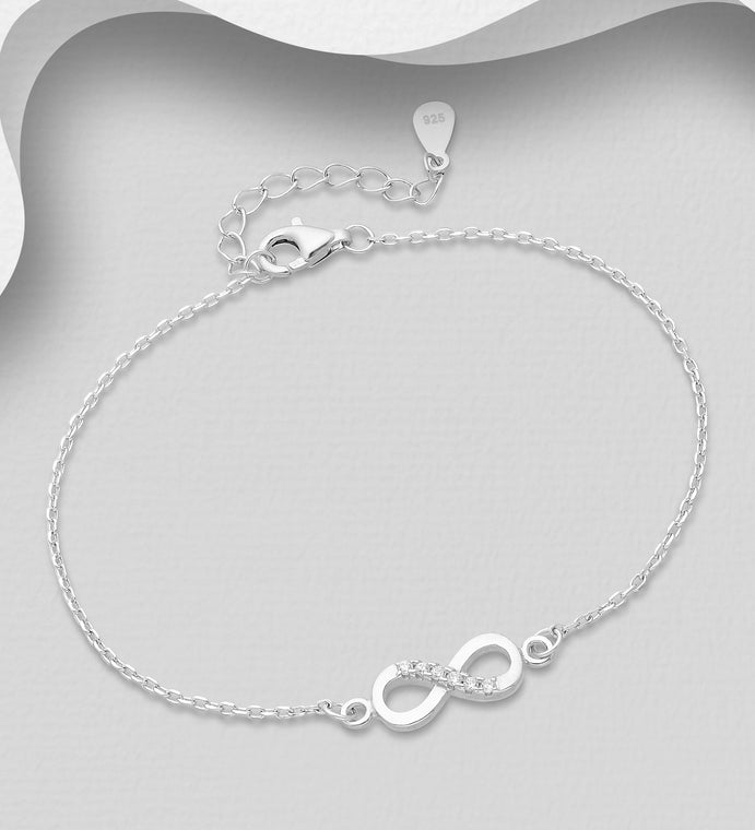 925 Sterling Silver Infinity Bracelet, Decorated with CZ Simulated Diamonds  - Valentines Gift Idea - The Silver Vault UK