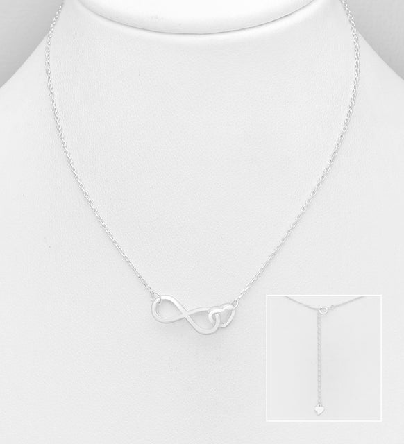 925 Sterling Silver Heart and Infinity Necklace- Valentine Gift Idea - The Silver Vault UK