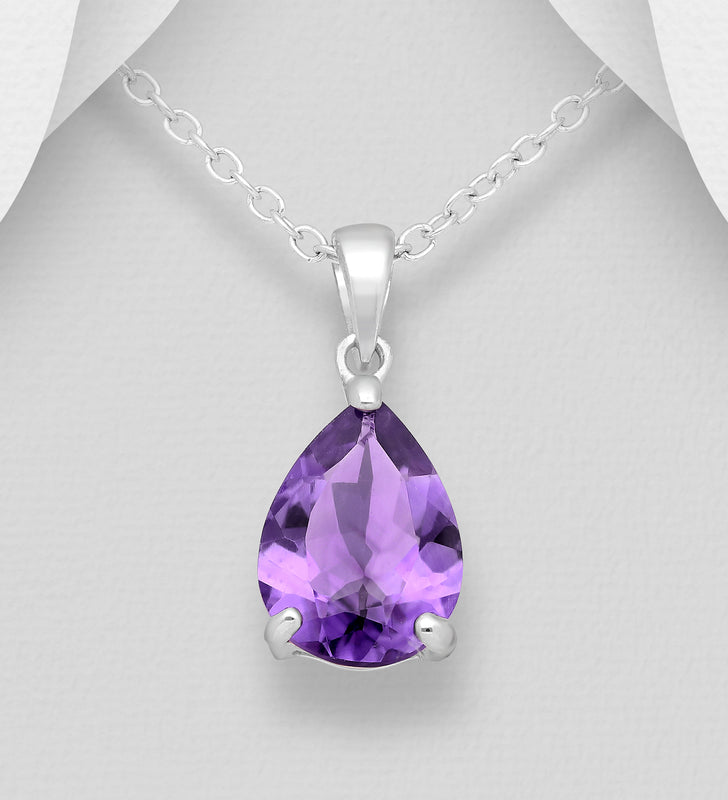925 Sterling Silver Pear-Shaped Pendant & Chain, Decorated with A Pear Shape Amethyst Stone - The Silver Vault UK
