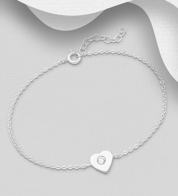 925 Sterling Silver Heart Bracelet, Set with an Authentic Swarovski® Crystal  - Valentines Gift Idea